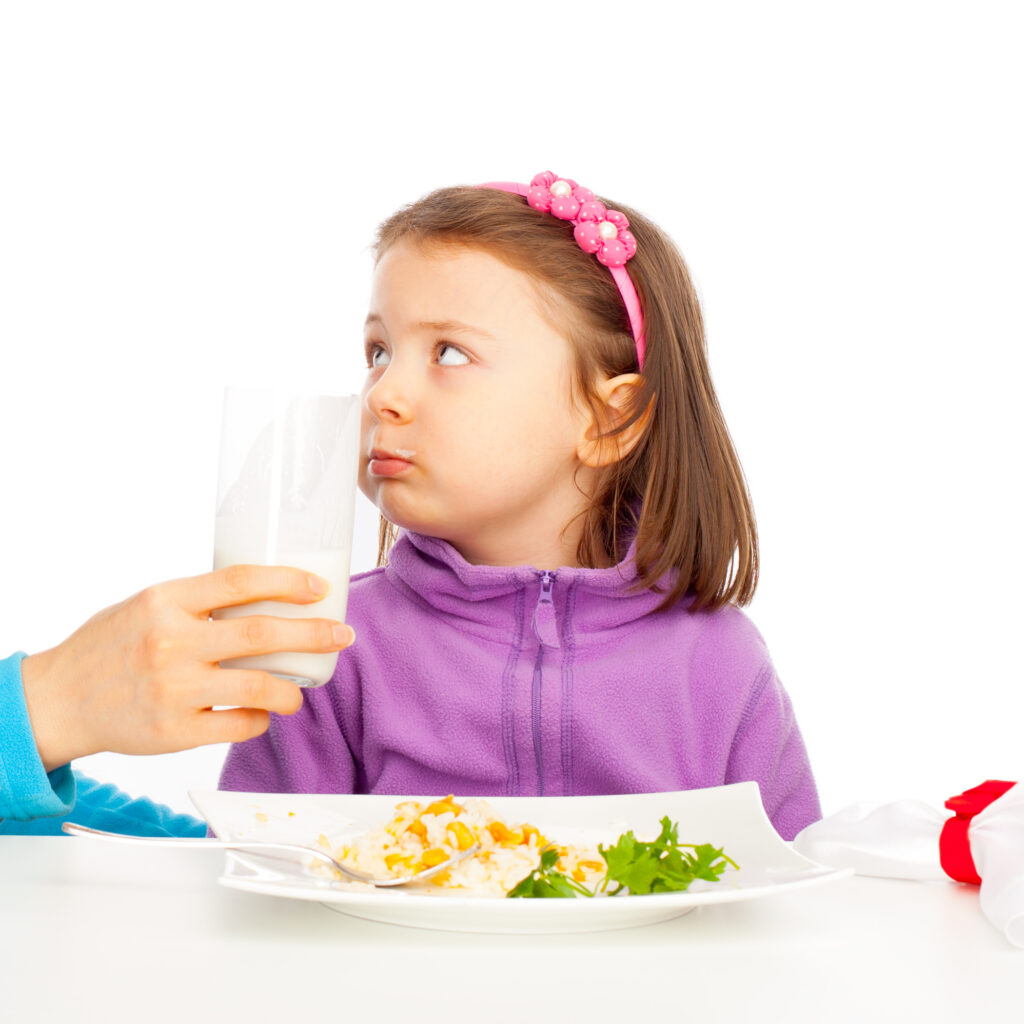 Little girl is full or dont like diary products.